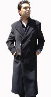 "Dress Coat Top Coat Full Length Overcoat Double Breasted 6 on 3 Buttons 50"" Length with Tabs"