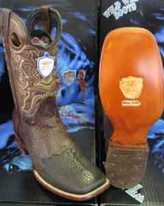 SKU#KR5690 Wild West Square Brown Genuine Shark Rodeo Western Cowboy Boot