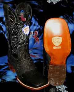 SKU#VK7834 Wild West Square Black Genuine Shark Rodeo Western Cowboy Boot