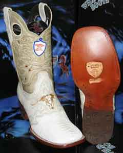 SKU#DE5629 Wild West Genuine Ostrich Leg Square White Rodeo Western Cowboy Boot
