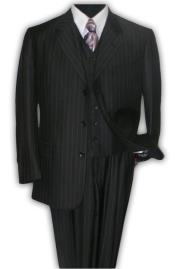 Priced Version Quality Classic Black Stripe ~ Pinstripe 3 ~ Three Piece Suit 100% Rayon Available in