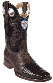 SKU#FK8934 Wild West Brown Caimen Belly Wild Rodeo Toe Boots