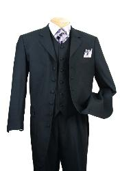 SKU#EMIL_58TA Classic Long Solid Black Fashion Zoot Suit