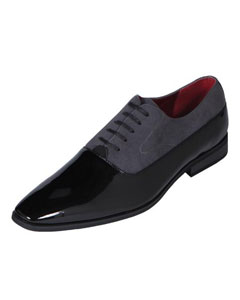 Mens Grey Tuxedo Shoe Contemporary Patent