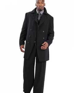 SKU#RQ5734 Suit Three Piece Vested With Peacoat Jacket with Wide Leg Pants Black