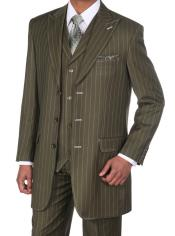 Mens Olive Green Pinstripe
