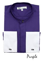 SKU#CP4724 Men's Fashion Hidden Button French Cuff Mandarin Collarless Dress Shirt Purple