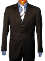 """Strictly Business"" Black 2 or Three ~ 3 Buttons Style Black mini narrow pinstripe 100% Wool Suit"