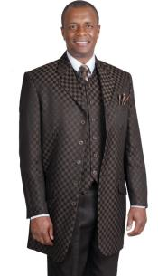 Brown Square Pattern Vested