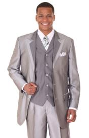 Mens Silver Tuxedo Formal Looking Vested Sharkskin Fashion Suit: discount mens clothes for sale