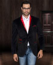 SKU#VH93 Velvet Velour Blazer Formal Tuxedo Jacket Sport Coat Two Tone Trimming Black