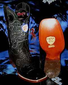 SKU#N-59Q Wild West Genuine Crocodile ~ Alligator Belly Square Black Rodeo Western Cowboy Boot
