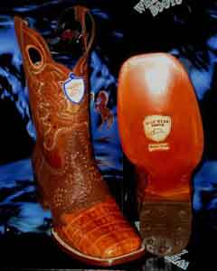 SKU#C89-K Wild West Genuine Crocodile ~ Alligator Belly Square Cognac Rodeo Western Cowboy Boot