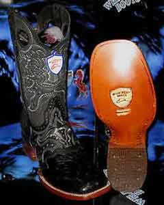 SKU#Q-02A Wild West Genuine Ostrich Square Black Rodeo Western Cowboy Boot