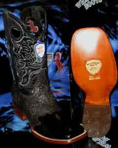 SKU#E-40N Wild West Genuine Ostrich Leg Square Black Rodeo Western Cowboy Boot