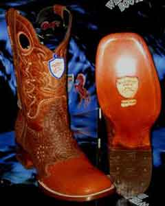 SKU#Z-37R Wild West Square Cognac Genuine Shark Rodeo Western Cowboy Boot