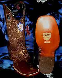 SKU#G-02V Wild West Genuine Ostrich Leg Square Brown Rodeo Western Cowboy Boot