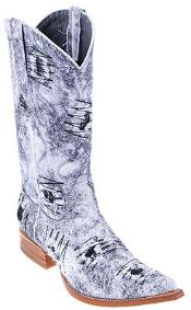 SKU#KA8554 Rustic White Denim Fabric Men's Los Altos COWBOY Fashion Western Boots Riding