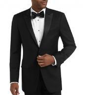 SKU#V-03R Men's Black Slim Fit Tuxedo