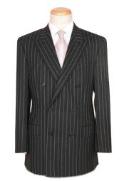 Quality Super Soft Black Pinstripe Double Breasted Suits Peack Lapel