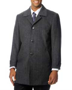 SKU#FR-196 Pronto Moda Europa Men's Car Coat 'Rodeo' Grey Herringbone Tweed Cashmere Blend Top Coat
