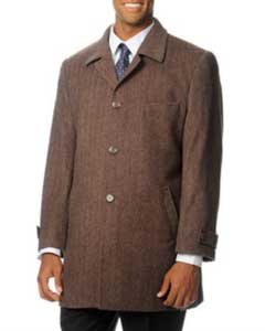 SKU#QV-571 Pronto Moda Europa Men's Car Coat 'Rodeo' Light Brown Herringbone Tweed Cashmere Blend Top Coat