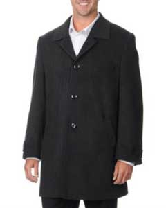 SKU#QN-457 Pronto Moda Europa Men's Car Coat 'Rodeo' Charcoal Cashmere Blend Top Coat