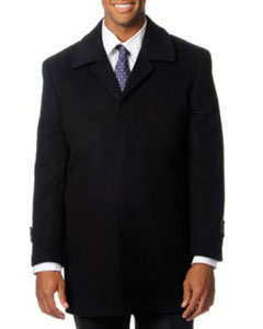 SKU#HZ-715 Pronto Moda Europa Men's Car Coat 'Rodeo' Black Cashmere Blend Top Coat