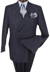 Quality Navy Blue & Chalk Bold White Pinstripe Double Breaste 100%