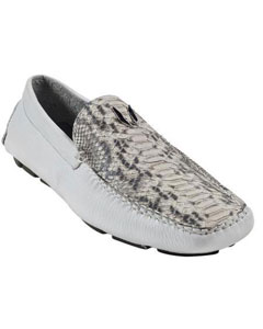 SKU#KA3256 Men's White Genuine python ~ snake Drivers Vestigium Driving Shoes slip on loafers for men