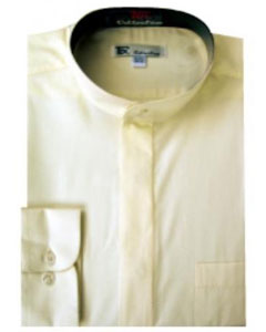 SKU#NR-1748 Men's Band Collar Dress Shirts Ivory ~ Cream $39