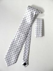 SKU#KA2100 Tie Set Ivory/White With Gray Squares Design