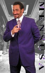 SKU# ZS77 Purple Single Breasted 3 Button Men Dress Suits