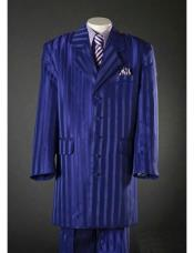 Stripe Notch Lapel Royal