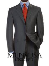 SKU 3BDV199 Mens Charcoal Gray Pinsripe 3 Buttons Double Vent Mens Suits Dress Italian 199
