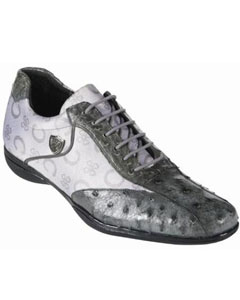 SKU#KA3787 High Top Exotic Skin Sneakers for Men Ostrich-Fashion Mens Shoe � Grey with White