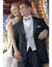 Quality 2-Button Notch Lapel Side Vented Super 120s Wool tuxedo suits