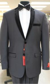 SKU#KA7356 Grey~Gray Tuxedo 2 button notch collar or Formal Suit & Dinner Jacker or Blazer with Black Edge Trim Lapel