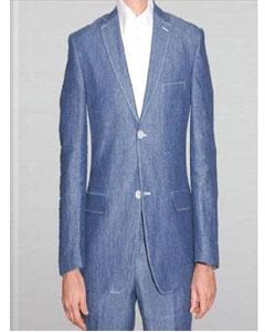 SKU#KA2387 Mens Enzo Blue 2 Button Linen Summer Suit – Denim Indigo Teal Cobalt Blue regular fit