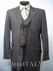 SKU JNO369 Loriano Vested Charcoal Gray Shark Skin Ticket Pocket 3 Pocket Shadow Mini Pinstripe 3 Buttons Mens