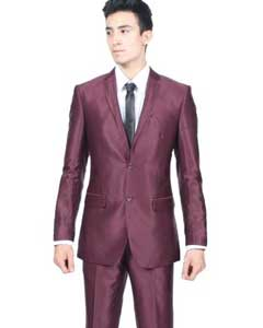 SKU#PN_0G Mens Slim Fit Shiny Burgundy ~ Maroon ~ Wine Color Sharkskin Suit