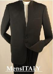 SKU# JJ78 Split collar highest quality shoulder mens black mandarin collar two button suit $199