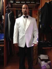 SKU#PN-A68 Mens Dress Discounted Formal Pure White 1 Button Peak Lapel Tuxedo Dinner Jacket / Blazer