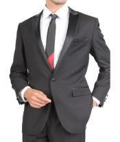 SKU#PN-X70 Tapered Leg Lower Rise Pants & Get Skinny Slim Fit Tuxedo Single Button