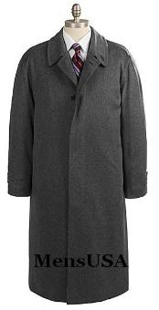 SKU OKV587 Mens Full Length Charcoal Gray Overcoat in Pure Wool Blend Hidden Buttons Fully Lengh Coat 199