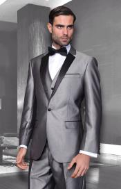 Mens Unique Bright Colorful Tuxedo Suits With Vested 3 Pieces black trimmed lapel Shiny Flashy Sharskin Silver Grey