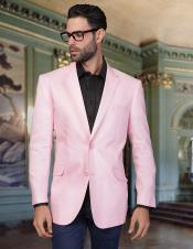 SKU#PN-G66 Mens 2 Button Cool Linen Fabric Jacket Summer Blazer Sport coat Pink