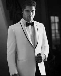Mens White Tuxedo Dinner Jacket Suit Shawl Collar with Black trim lapel 1 button + Pants