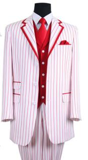 Mens 3 Button Single Breasted 35 Inch White/Red Seersucker Pinstriped Tuxedo Look Vested 3 Piece
