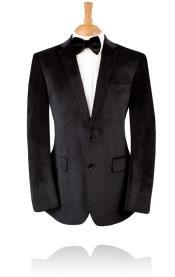 SKU#PN_5A 2 Button, Black Velvet Tuxedo Jacket, Notch Lapel by Sportcoat ~ Blazer Black Label